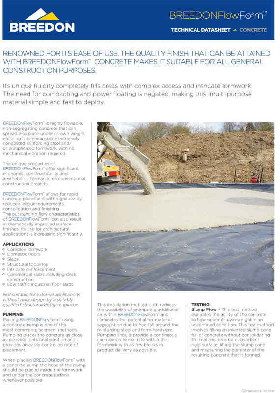 Breedon Flow - Safety Data Sheet - Flowing Concrete